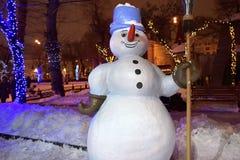 Noite do inverno na cidade Moscovo, Rússia Imagem de Stock