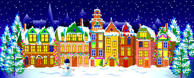 Noite do inverno na cidade velha Imagens de Stock