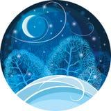Noite do inverno na ilustração do vetor da floresta Imagens de Stock Royalty Free