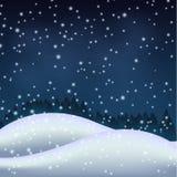 Noite do inverno no monte nevado Fotos de Stock Royalty Free