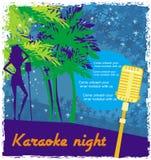 Noite do karaoke, ilustração abstrata de um microfone e dançarinos Fotografia de Stock Royalty Free