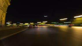 Noite do lapso de tempo da condução da cidade de Paris filme