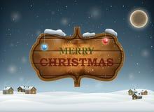 Noite do Natal com placa de madeira Fotografia de Stock