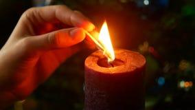 Noite do Natal Cronometre para iluminar uma vela filme