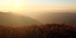 Noite do outono em montanhas Carpathian Fotos de Stock