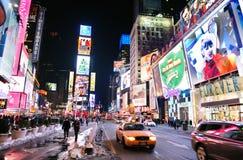 Noite do quadrado do tempo de New York City Manhattan Foto de Stock