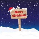 Noite do sinal do Feliz Natal ilustração stock