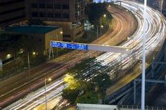Noite do tráfego de Hong Kong Fotografia de Stock