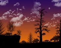 Noite dos dinossauros Fotografia de Stock