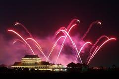 Noite dos fogos-de-artifício Fotografia de Stock