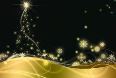 Noite dourada do Natal. Imagem de Stock Royalty Free