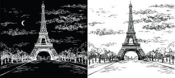 A noite e o dia ajardinam com a torre Eiffel em preto e branco Fotografia de Stock