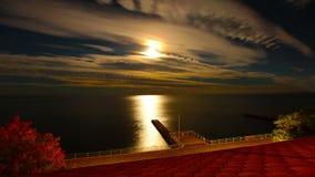 Noite e o mar. 4K. HD COMPLETO, 4096x2304. video estoque