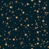 Noite elegante sem emenda do vintage e fundo dourado do teste padrão de estrelas ilustração royalty free