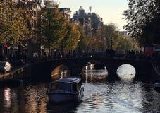 Noite em Amsterdão, Holanda Fotos de Stock