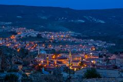 Noite em Cappadocia fotografia de stock royalty free