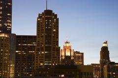 Noite em Chicago Fotos de Stock Royalty Free