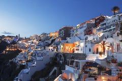 Noite em Fira da capital de Santorini Foto de Stock Royalty Free