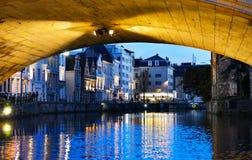 Noite em Ghent, Bélgica Fotografia de Stock Royalty Free