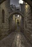 A noite em ruas de Jerusalem Fotos de Stock