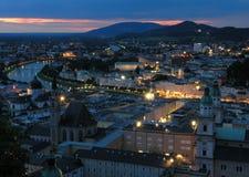 Noite em Salzburg Fotografia de Stock