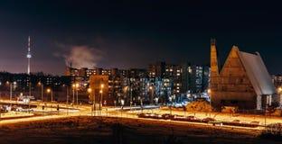 Noite em Vilnius foto de stock