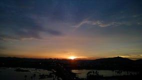 Noite escura do céu do por do sol Foto de Stock