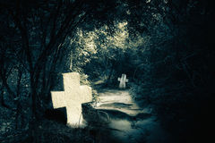 Noite escura na floresta misteriosa com sepulturas abandonadas Imagem de Stock
