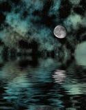 Noite estrelado com lua Fotos de Stock Royalty Free