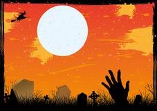 Noite estrelado de Halloween no cartão vermelho do cemitério Foto de Stock
