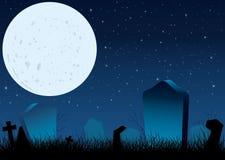 Noite estrelado de Halloween no cemitério Foto de Stock Royalty Free