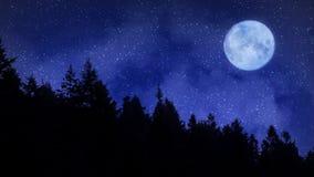 Noite estrelado fria nas montanhas com uma Lua cheia ilustração stock