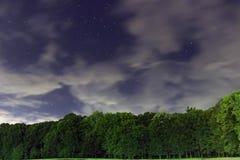 Noite estrelado, nuvens brancas, muitas estrelas, floresta verde a borda da floresta Fotografia de Stock