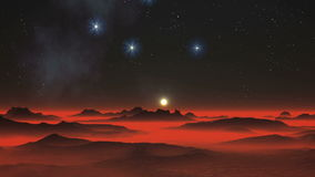 Noite, estrelas e planeta estrangeiro video estoque
