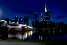 Noite Francoforte Imagem de Stock