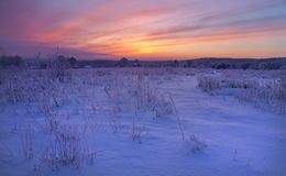 Noite gelado na vila do russo Imagens de Stock