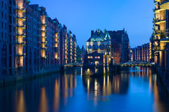 Noite Hamburgo Imagem de Stock Royalty Free