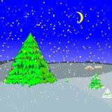 A noite-ilustração de ano novo Imagens de Stock Royalty Free