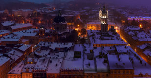 Noite Lviv Foto de Stock Royalty Free