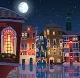 Noite na cidade velha de Veneza Imagens de Stock
