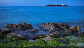 Noite na costa da Creta, Grécia Fotos de Stock Royalty Free