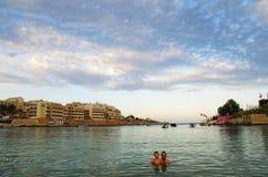 Noite na praia, ilha de Malta Imagem de Stock Royalty Free