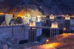 Noite na represa de Hoover em Nevada Fotografia de Stock