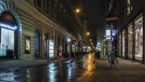 Noite na rua após a chuva em Wien, Áustria fotos de stock royalty free