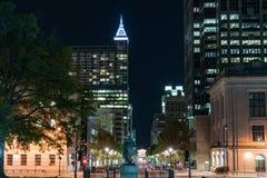 Noite na rua Raleigh de Fayetteville, North Carolina Fotografia de Stock Royalty Free
