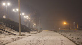 Noite nevoenta, maneira pedestre Fotos de Stock Royalty Free