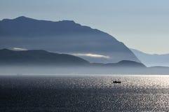 Noite no fjord Imagens de Stock Royalty Free