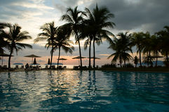 Noite no hotel tropical Fotografia de Stock