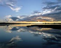 Noite no lago Fotos de Stock Royalty Free