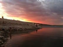 Noite no lago Amistad em Texas Fotografia de Stock